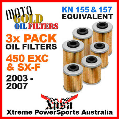3 Pack Moto Gold Oil Filters Ktm 450 Exc Sx-F Sxf 2003-2007 Mx Dirt Kn 157 155