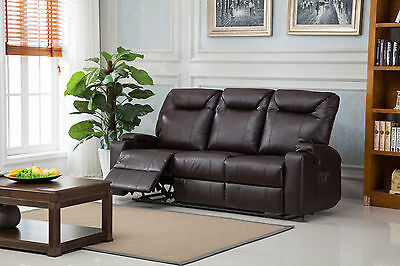 New Luxury Cinema Lazy Boy 3 Seater Bonded Leather Recliner Sofa - Brown
