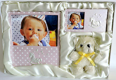 """Childrens Photo Frame Gift Set Picture Frames Doll Gift Boxed Pink 4x6"""" 2x2"""" New"""