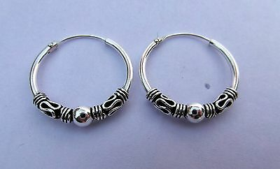 Pair Of Sterling Silver Bali Hoop Ball  Earrings  20 mm  !!    Brand  New  !!