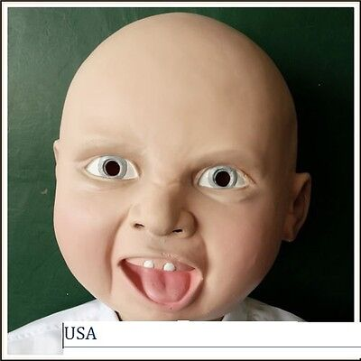 Realistic latex Happy baby  mask halloween adult cosplay scary Premium Quality