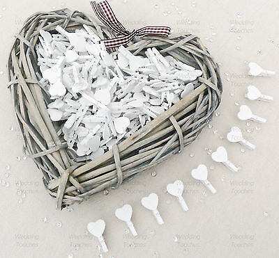 30mm White Mini Clothes Pegs with 18mm White Hearts Craft For ShabbyChic Wedding