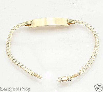 "5.5"" Baby Childrens KIDS ENGRAVABLE ID CURB CUBAN BRACELET REAL 10K YELLOW GOLD"