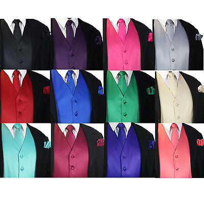 SOLID Men's Dress Vest & Neck Tie Hankie Set For Suit or Tuxedo Formal Wedding