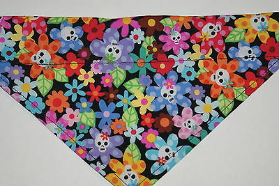 Dog Bandana, OVER THE COLLAR,clothes, pet, Size S,M,L,XL, Flowers/Skulls!