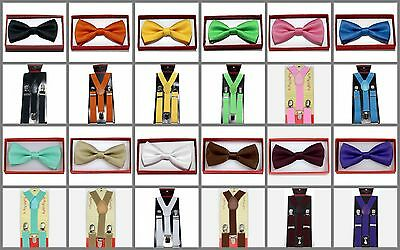 Solid Suspender Bow Tie Combo Matching Color Sets for Boys Girls Kids Child IW