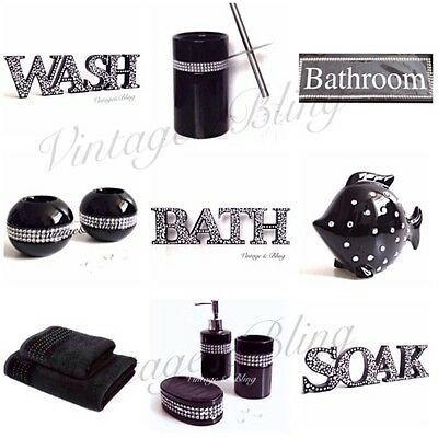 New silver black bathroom accessories set soap dish for Black bling bathroom accessories