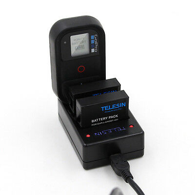 3in1 Charger for GoPro Hero 4 AHDBT-401 Battery and WIFI Remote Charging Hot