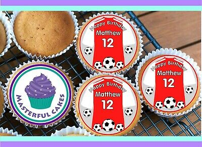24 PERSONALISED ARSENAL COLOUR SHIRT CUPCAKE TOPPER RICE, WAFER or ICING