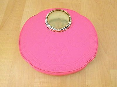 Vtg 60s Hot Pink Bathroom Scale Mid Century Mod Flower Power Vinyl Bubble View