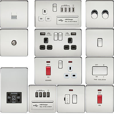 Screwless Flat Plate Electrical Light Switches & Plug Sockets Polished Chrome