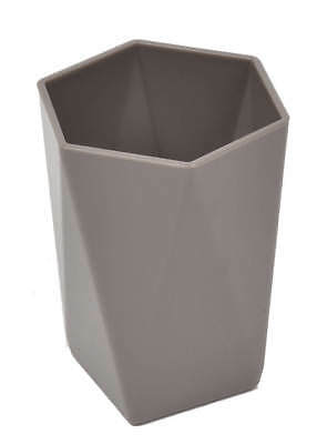 Evideco Bath Tumbler Cup HEXAGONAL Solid Color Taupe, White, Black or Silver
