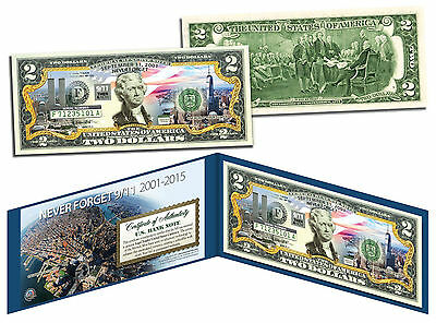 ONE WORLD TRADE CENTER 14th Anniversary *Then & Now* 9/11 WTC Genuine $2 US Bill
