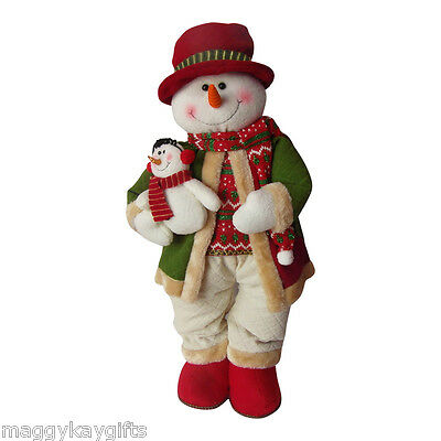 Large Plush Standing Snowman - Christmas Decoration Red & Green Ornament  60 CM
