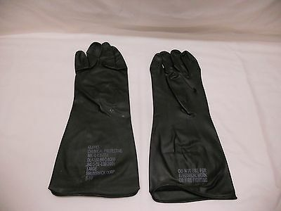 1 Pair Rubber Chemical Protective Gloves - Assorted Sizes - New, (Glove Room)