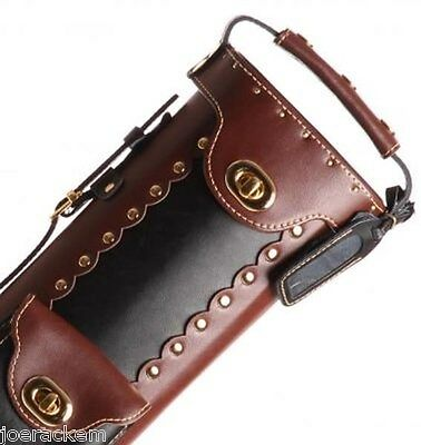 New Instroke Pool Cue Case Inverted Black Brown 2x3 LEATHER Cowboy