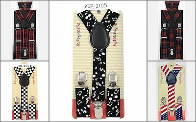 NEW Toddler Suspenders Boys Girls Kids Child USA Flag Plaid Checker Music Note