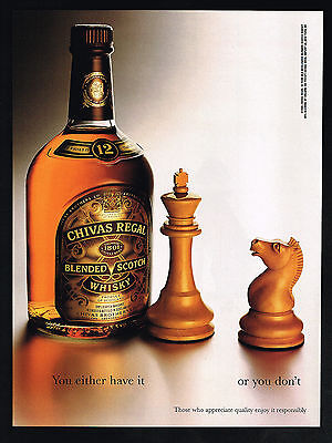 1995 Chivas Regal Scotch Whisky Chess Game Piece Vintage Photo Print Ad