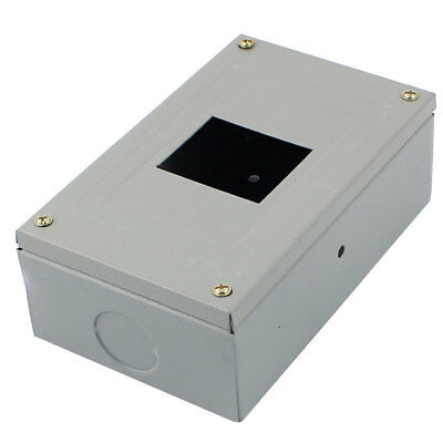 Light Gray Metal Rectangular Open Hole Electrical Power Distribution Box Cover