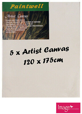 """5pcs Paintwell Artist Stretched Canvas 48x70"""" Heavy Duty 38mm Thick SCS-4870B"""