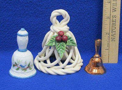 3 Vintage Bells Small Copper White w/ Blue & Woven Ceramic Holly Christmas