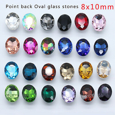 20pcs  Rhinestone Faceted Pointed Foiled Back crystal Jewels Oval 8x10mm Y-pk