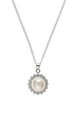 e152921d1 Sterling Silver Freshwater Cultured Pearl & Cubic Zirconia Pendant & Chain  New