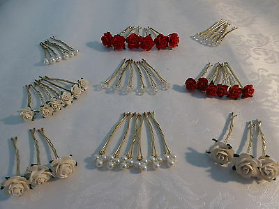 ivory red roses hair grips kirby decorations crystals pearls bridesmaids bride