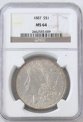 1887 Morgan Silver Dollar NGC MS 64