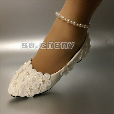 Ivory white lace pearl Wedding shoes Bridal flat low high heels pumps size 5-12