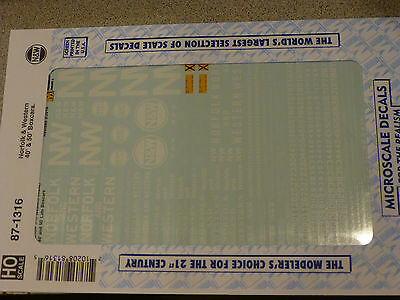 Microscale Decal HO  #87-1316  Norfolk & Western 40' & 50' Boxcars.