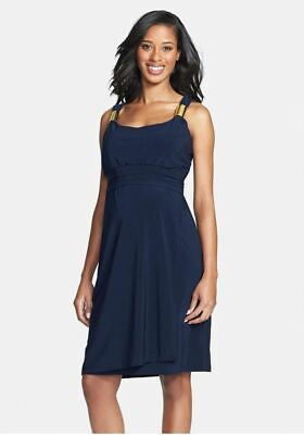 New JAPANESE WEEKEND MATERNITY Nursing Slider Strap Navy Cocktail Dress L 12/14