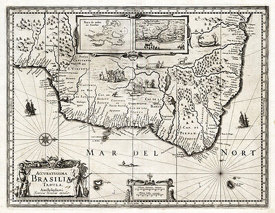Antique Map-BRASIL-Hondius-Janssonius-1636
