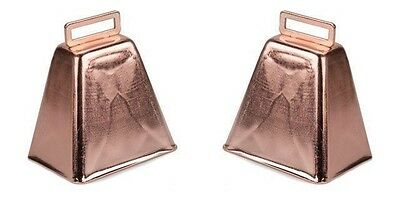 """ONE Large Metal COW BELL Copper Finish 3"""" high w/ handle Pep Rally Band Music"""