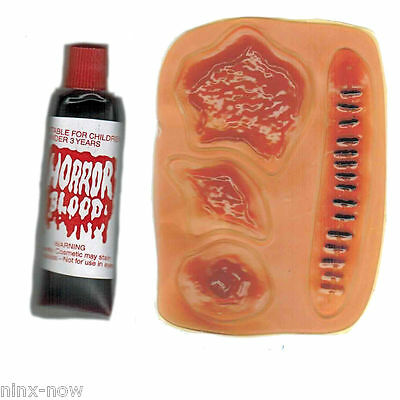 Latex Wounds and Horror Blood Set Zombie Halloween Special FX Make-up