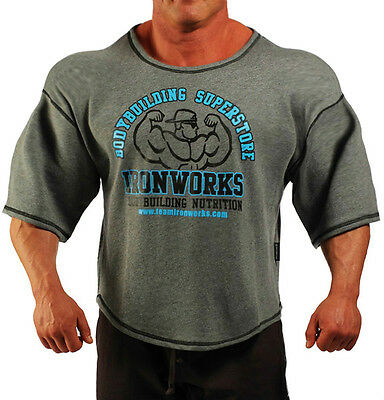 Charcoal Grey Team Ironworks Bodybuilding Clothing Workout Top L-135