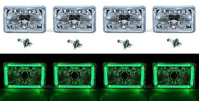 "4X6"" Green LED Halo Angel Eye Halogen Headlight Headlamp Bulbs Crystal Clear Set"
