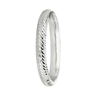 3mm Diamond Cut Sparkly Wedding Band Ring Real 14K White Gold