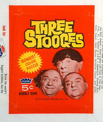 Three Stooges 5¢ Bubble Gum Cards Wrapper Larry Moe Curly Joe Photo Fleer 1966