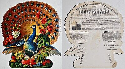 Victorian Trade Card Andrew's Pearl Baking Power Peacock Lake Street Chicago