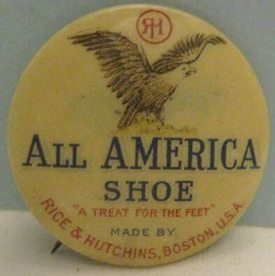 Old Advertising Celluloid Pinback Button Eagle Logo All American Shoe Boston MA