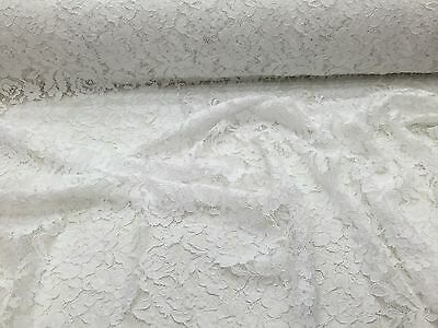 White Vintage Corded French Lace Embroider On A Mesh-bridal-sold by the yard.
