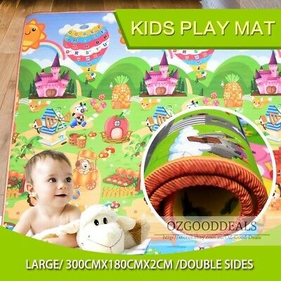 20mm Thick XXL Baby Kids Play Mat Floor Rug 3mx1.8m 2 Sides Alphabet Animal AB