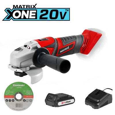 NEW MATRIX 20v 18v Cordless Angle Grinder Kit including 1.5Ah battery n charger