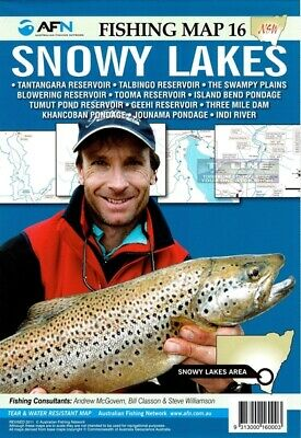 AFN Fishing Maps Snowy Lakes (NSW) Map 16 Tear & Water Resistant Map