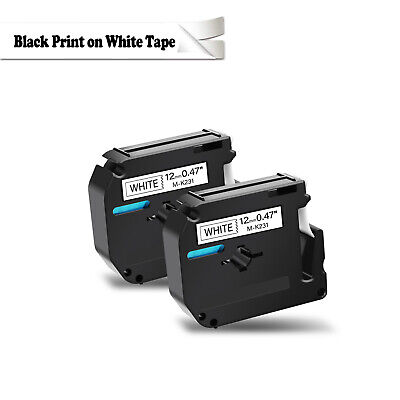 2 pack for Brother P-touch PT80 PT70 Black on White Label Tape M-K231 MK231