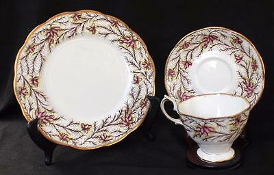 Vintage ROYAL ALBERT Bone China Pink HEATHER BELL Trio Footed Cup Saucer Plate
