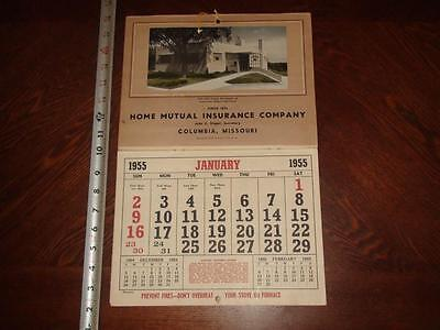 JC445 Vintage 1955 Calendar Ad Home Mutual Insurance Co Columbia MO Mailed 1954