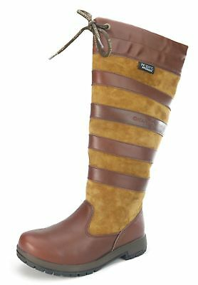 Kanyon Ladies Yew / Ash Leather Long Horse Riding Waterproof Lace Up Boots NEW
