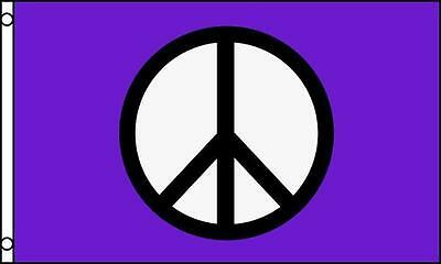 PURPLE PEACE SIGN 3X5 FLAG inside or outside hanging hippie novelty emblem #602